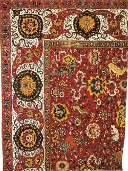 Rug, fragment, Spiral tendrils and animals