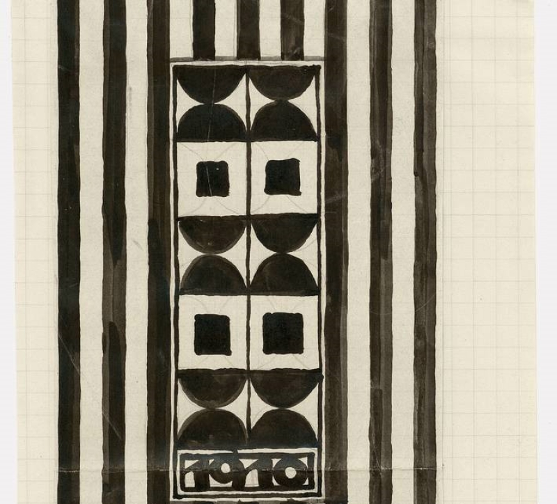 Josef Hoffmann, Preliminary Sketch for a Poster for the Cabaret Fledermaus, Vienna, 1910