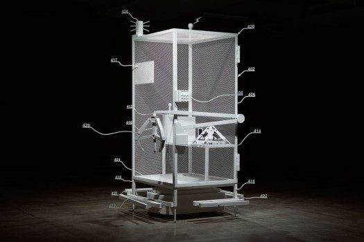 "Simon Denny's 3-D model of a blueprint of an Amazon ""worker cage""© Jesse Hunniford/Mona"
