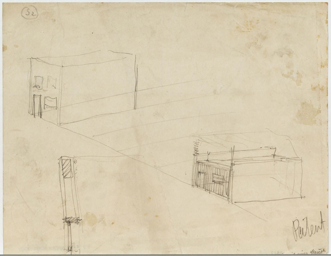 "<BODY><div>Adolf Loos, ""House with a Wall,"" sketches for a patent specification, 1921</div><div>Paper, pencil </div><div>© ALBERTINA, Vienna</div><div> </div></BODY>"