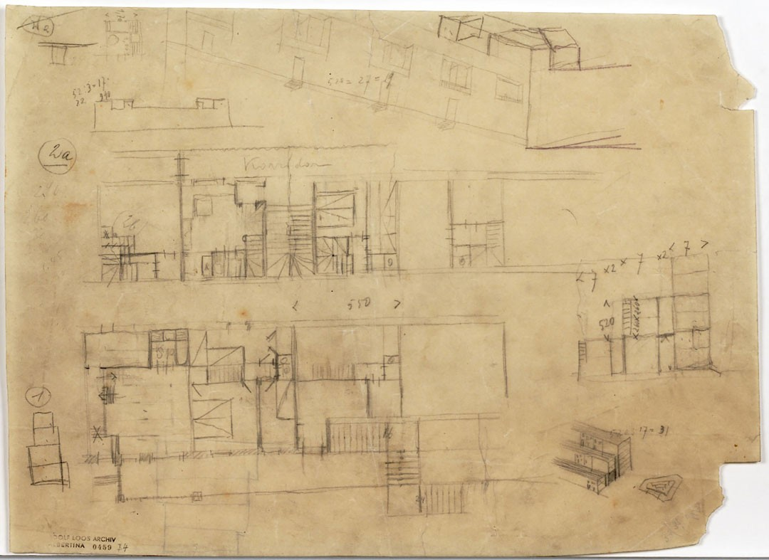 <BODY><div>Adolf Loos, Winarskyhof (now: Otto-Haas-Hof), Vienna's 20th district, Durchlaufstraße, floor plans, sections, perspectival sketch, 1923 </div><div>Tracing paper, pencil </div><div>© ALBERTINA, Vienna</div><div> </div></BODY>
