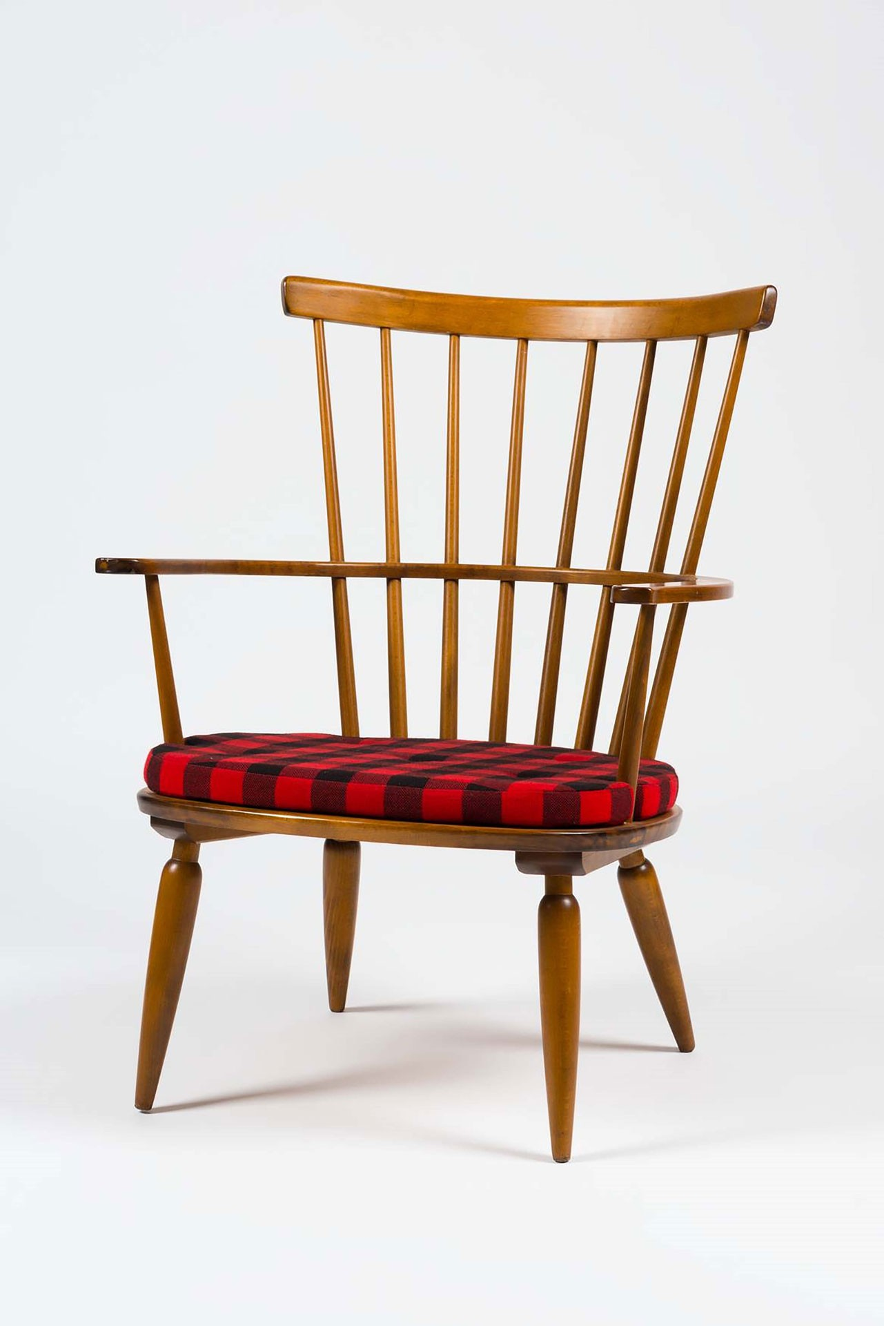 <BODY>Franz Schuster, Armchair, Model No. 1652, Vienna, 1952<br />Beech, solid, partially bent; padding made of foam rubber, textile cover<br />© MAK/Nathan Murrell</BODY>
