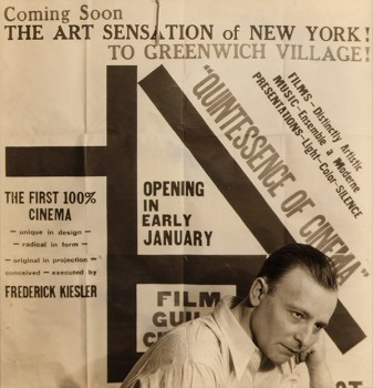 Frederick Kiesler in front of the placard for the opening of the Film Guild Cinema