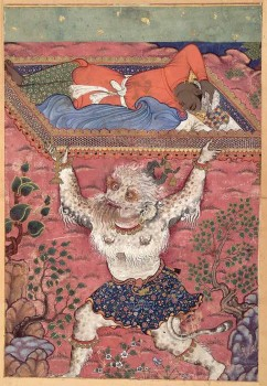 Miniature, painting, Landhaur, the son of the king of Ceylon, is abducted in his sleep by a demon, Hamzanama