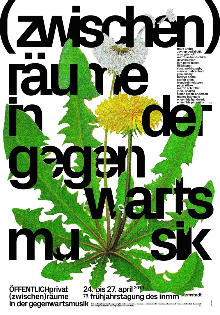 <BODY><div>Studio: 2xGoldstein</div><div>Graphic design: Andrew Goldstein, Jeffrey Goldstein</div><div>(zwischen)räume in der gegenwartsmusik [(inter)spaces in contemporary music]</div><div>Client: TPT – Trnava Poster Triennale</div><div>Printing: Stober GmbH</div><div>Technique: offset print</div><div>Germany </div><div>© 2xGoldstein/100 Beste Plakate e. V.</div><div> </div></BODY>