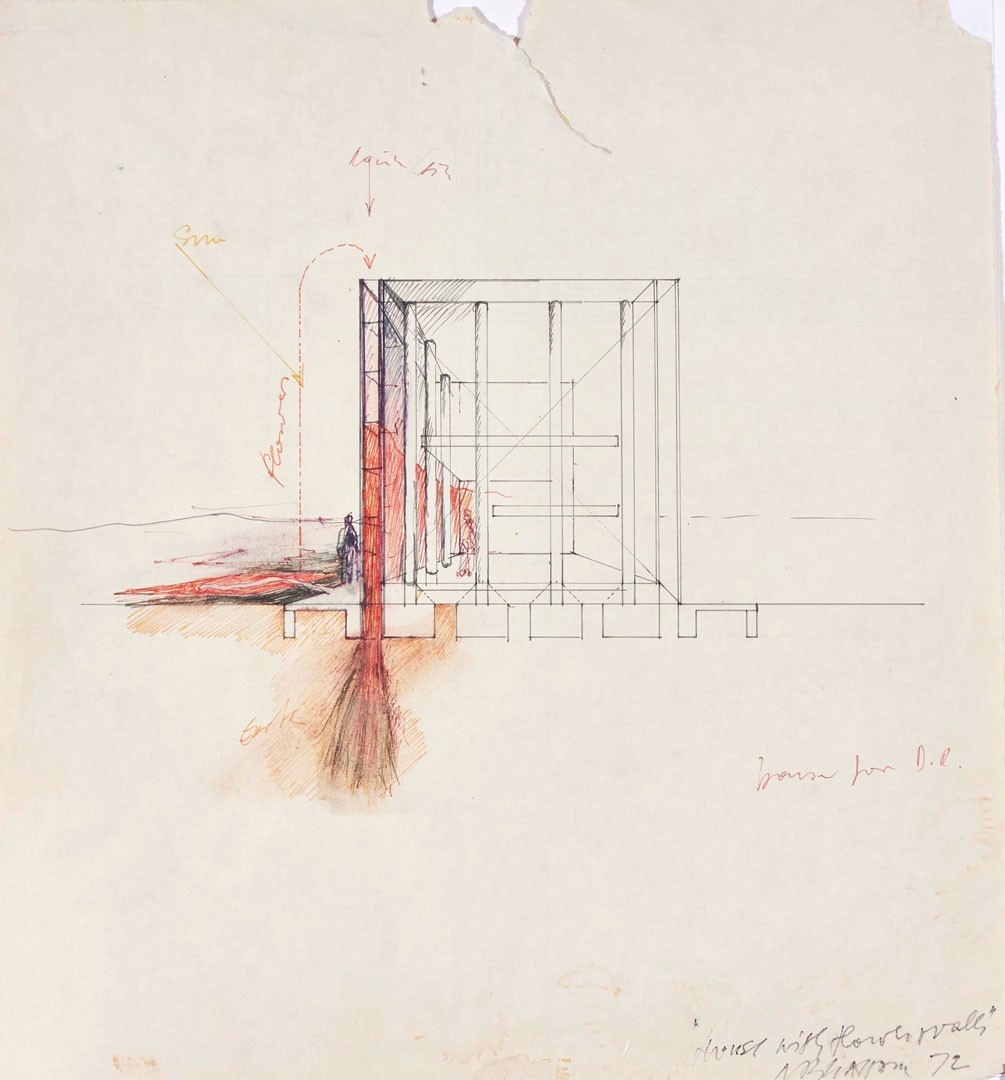 <BODY>Raimund Abraham, House with Flower Walls. 10 Houses, 1972<br />Tusche, Bleistift auf Papier<br />Privatsammlung<br />© MAK/Georg Mayer</BODY>