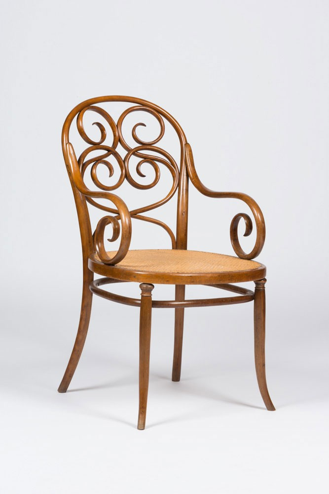 <BODY><div>Armchair No. 38, Design and execution: D. G. Fischel Söhne, Niemes</div><div>Mimon, ca. 1890; Beech, solid bent, cane; MAK H 2928/1987</div></BODY>