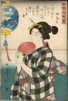 "Utagawa Kuniyoshi, ""Benkei on the Bridge"" from the series Collection of Striped Female Benkeis from the Pleasure Quarters, 1843/44© MAK/Georg Mayer"