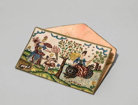 BEADWORK LETTER CASE with allegorical figures