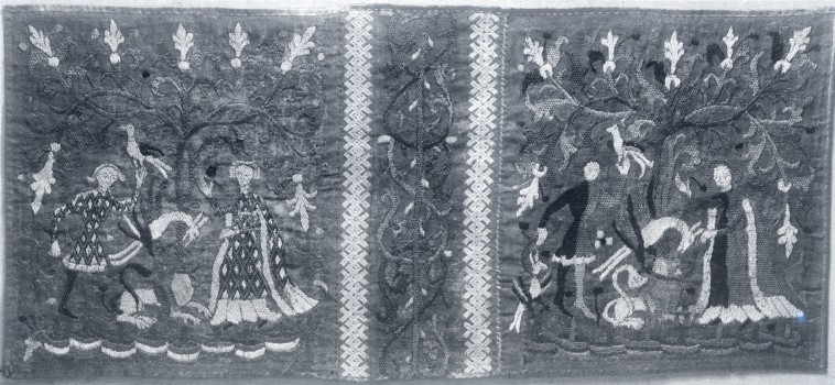 Polychrome silk embroidery: man and woman, flowers, animals