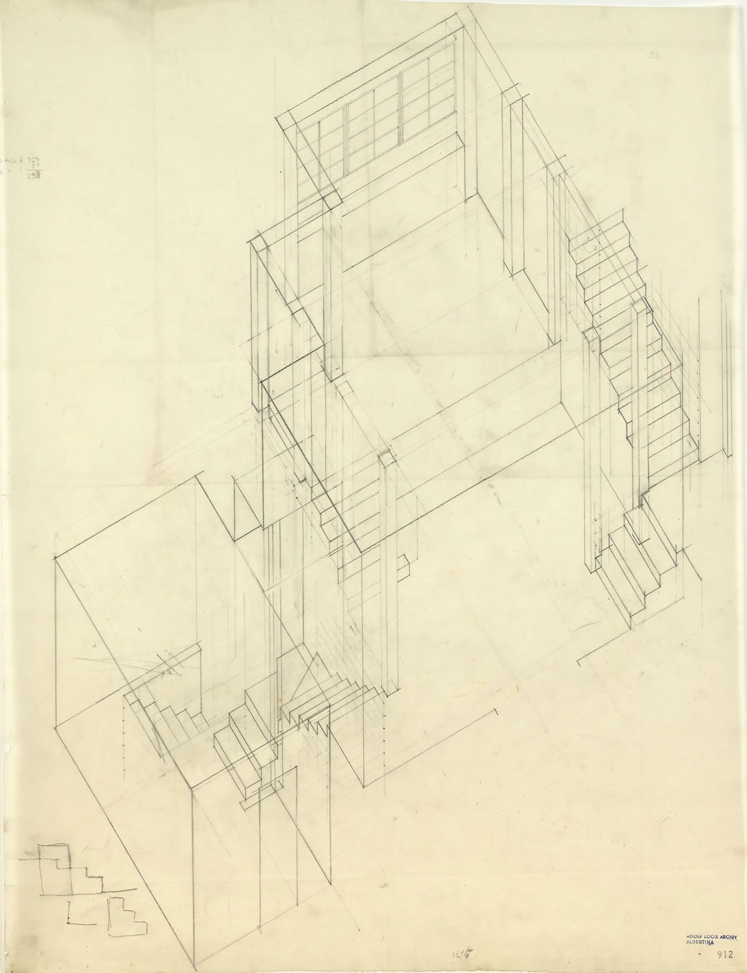 <BODY><div>Adolf Loos, House for Hans and Anny Moller, Vienna's 18th district, Starkfriedgasse 19, axonometric view of the stairways, 1927 </div><div>Tracing paper, pencil </div><div>© ALBERTINA, Vienna</div><div> </div></BODY>