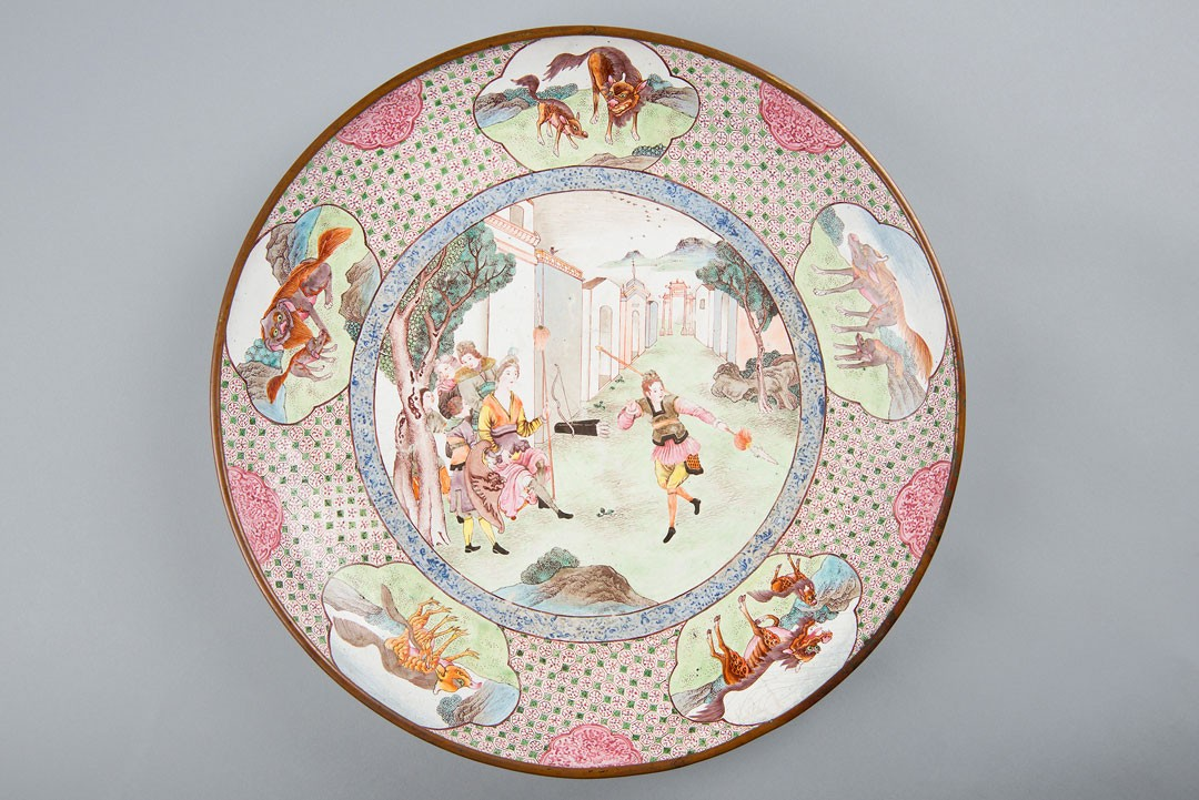 <BODY><div>Dish, China, Qing dynasty, Qianlong period (1736–1795)</div><div>Copper with polychrome painted enamel, illustration of a Europeanising scene on the inside, on the base flower still life with butterfly</div><div>© MAK/Nathan Murrell</div><div> </div></BODY>