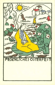 "Oskar Kokoschka: POSTCARD No. 157 ""Froehliches Osterfest"" [Happy Easter]"