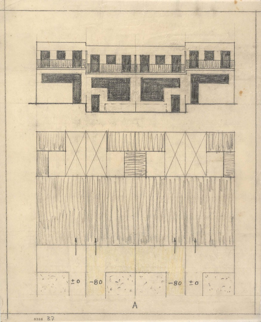 <BODY>Adolf Loos, Duplex, Vienna's 13th district, Werkbundsiedlung, Woinovichgasse 13, 15, 17, 19, façade, 1930–1932<br />Tracing paper, pencil<br />© ALBERTINA, Vienna<br /><br /></BODY>