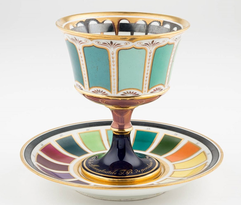 Goblet with Presentoir Showing Color Samples, Vienna, ca. 1816 Execution: Imperial Porcelain Manufactory Vienna