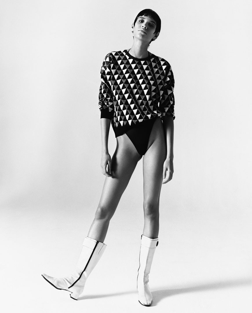 <BODY>Rudi Gernreich, The Original Thong, Triangle Jacquard Knit Top, 2019<br />Model: Kerolyn Soares<br />© Photo: Oliver Hadlee Pearch<br />Courtesy of Rudi Gernreich LLC, New York und Rudi Gernreich GmbH, Luzern</BODY>