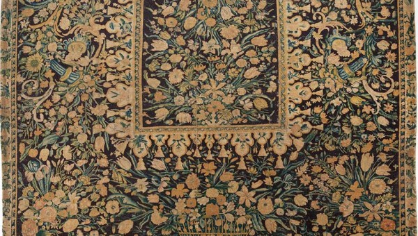 Savonnerie-Table Carpet with Flowers