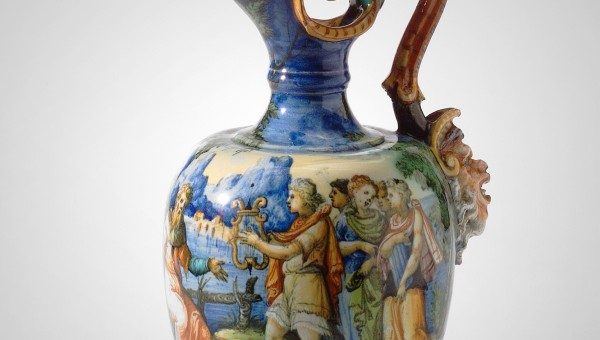 MAJOLICA PITCHER WITH GROTESQUE HANDLE