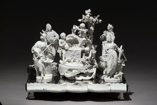 Allegory of Porcelain Production with the Four Cardinal Virtues, centerpiece from Zwettl Abbey