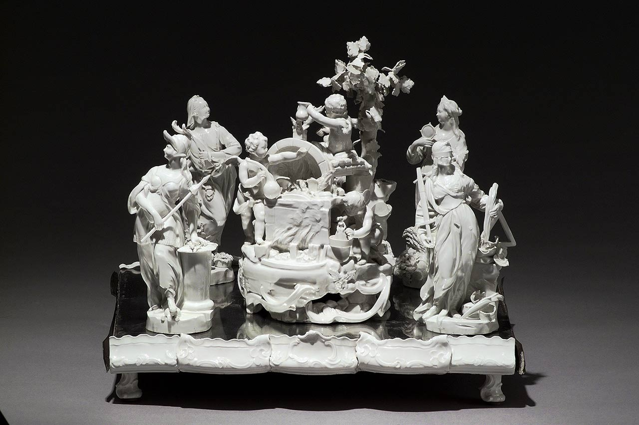 <BODY>Allegory of Porcelain Production with the Four Cardinal Virtues, centerpiece from Zwettl Abbey<br /></BODY>