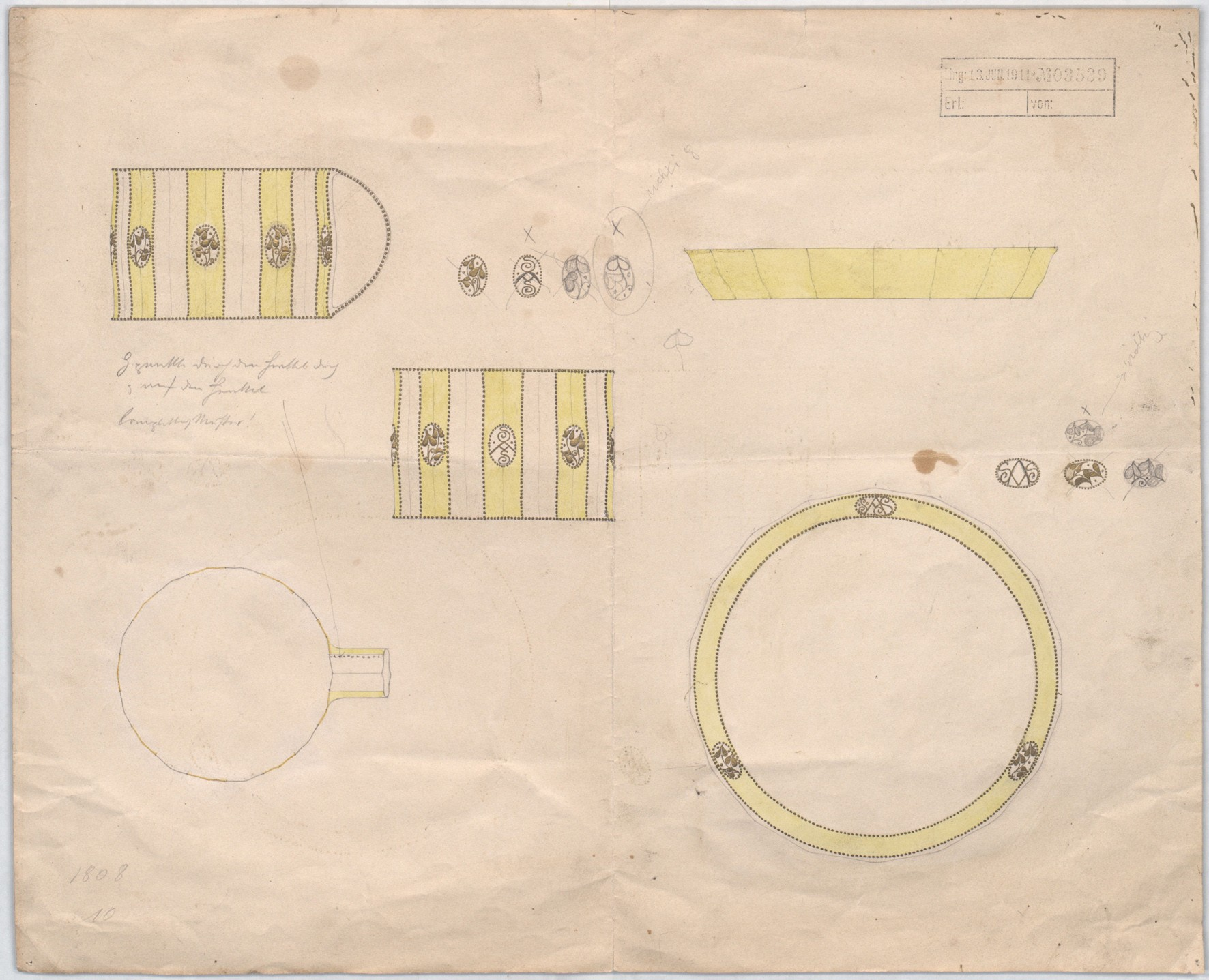 Josef Hoffmann, design sketch, coffee cup and saucer for Palais Stoclet, 1911