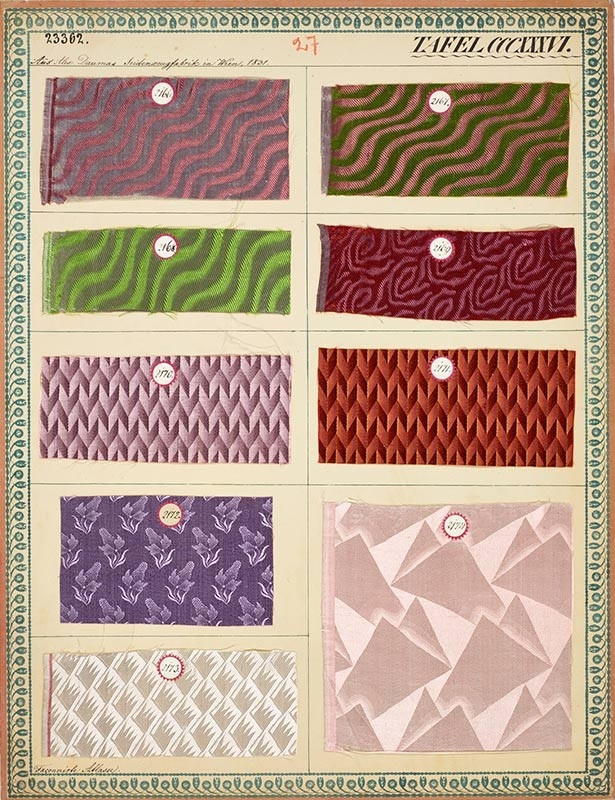Sample board of silk fabrics: Vienna, 1831