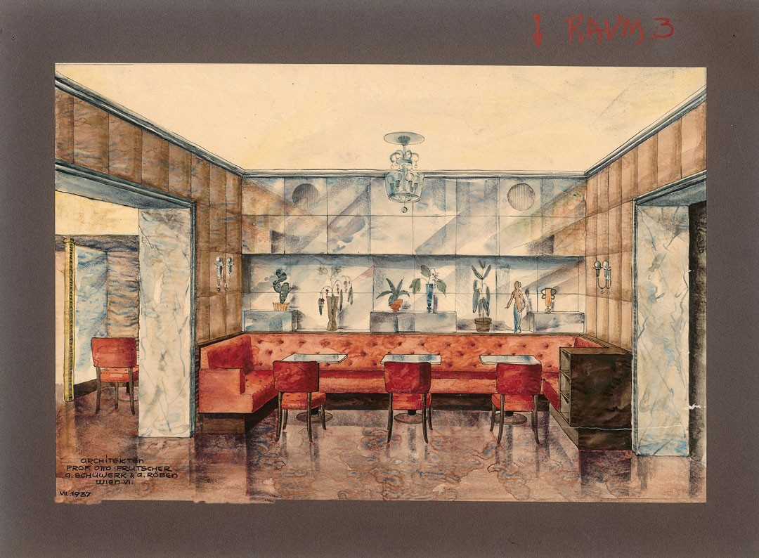 <BODY>Otto Prutscher, Interior elevation for the Café-Restaurant Hotel Imperial, Vienna's 1st district (jointly with Anton Schuwerk and August Röben), 1937<br />Cardboard, tracing paper, watercolor paint, india ink, colored pencil, pencil<br />© MAK</BODY>